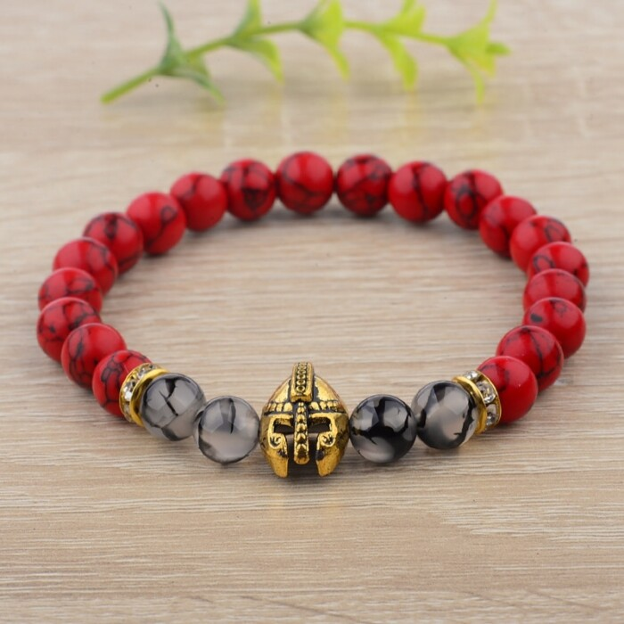 Natural Stone Charm with warrior helmet